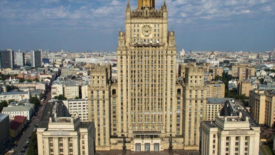 Una vista del edificio del Ministerio de Relaciones Exteriores de Rusia en Moscú, capital.