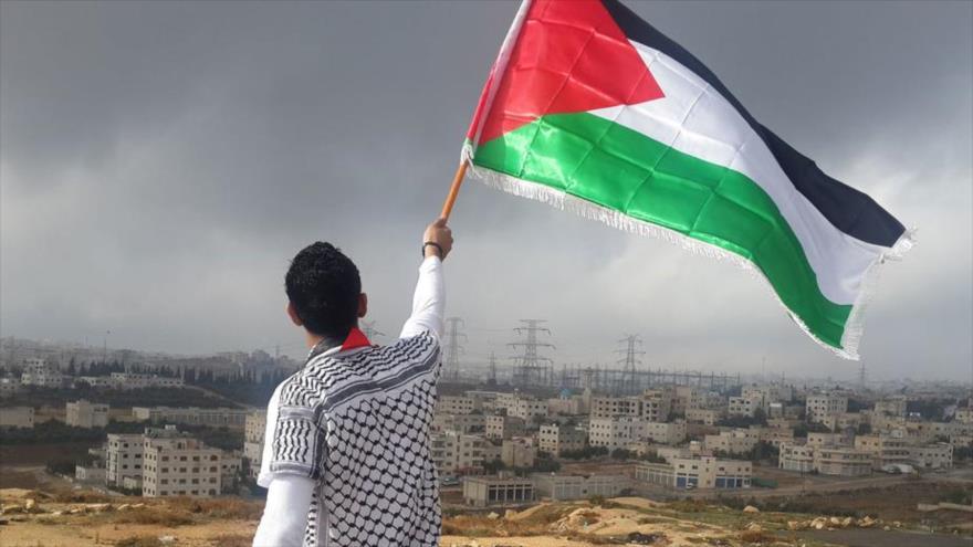 Un joven palestino agita la bandera de Palestina.