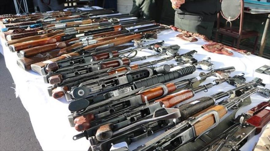 Armas incautadas por Irán a un grupo de traficantes. (Foto: Tasnim)