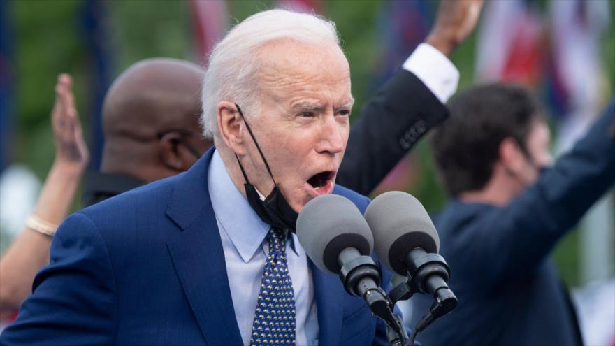 El presidente de EE.UU., Joe Biden, habla durante un acto en Duluth, Georgia, 29 de abril de 2021. (Foto: AFP)