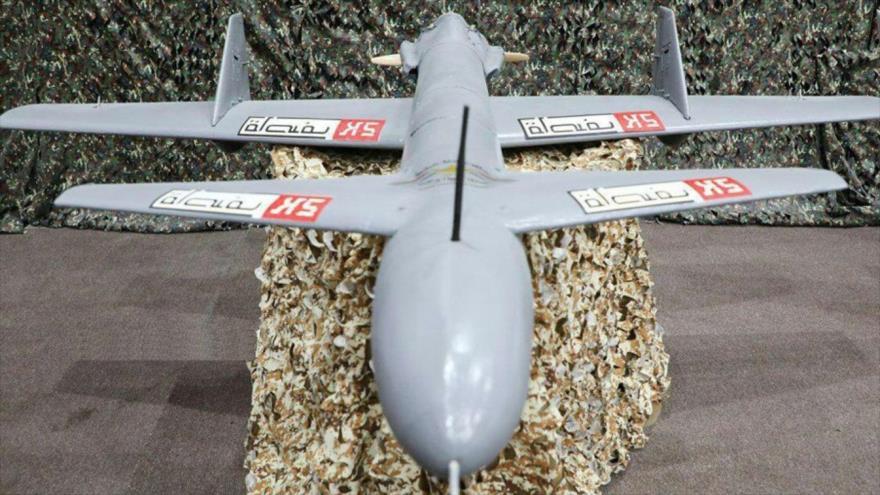 Un avión no tripulado (dron) del Ejército yemení, modelo Qasef-K2, de fabricación nacional.
