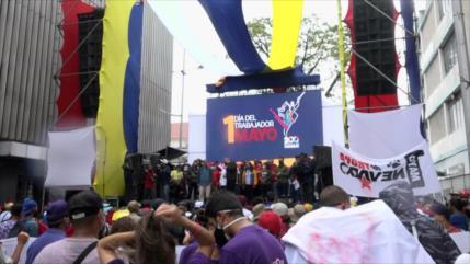 Trabajadores venezolanos festejan su día en Caracas