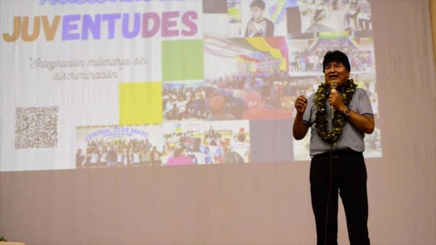 El expresidente de Bolivia Evo Morales habla en el Segundo Encuentro Nacional de Juventudes en Villa Tunari, en Cochabamba, 29 de abril de 2021.