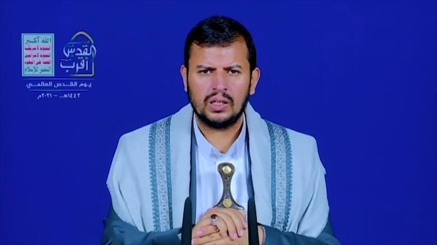 El líder del movimiento popular Ansarolá, Abdul-Malik al-Houthi, ofrece un discurso televisivo, 5 de mayo de 2021.