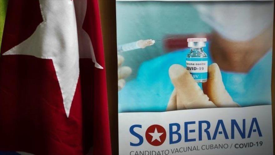 Un póster de la vacuna cubana contra la COVID-19, llamada Soberana, La Habana (capital), 20 de enero de 2021. (Foto: AFP)