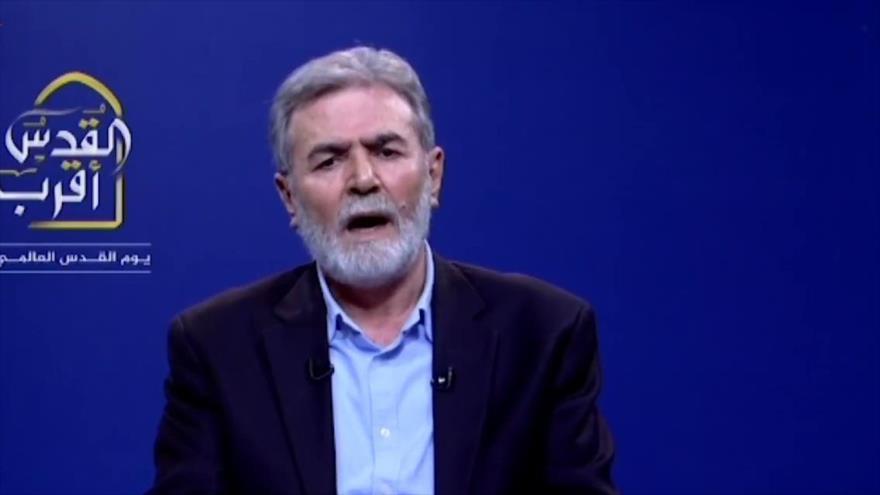 El secretario general de la Yihad Islámica palestina, Ziad al-Najala, ofrece un discurso televisivo, 5 de mayo de 2021.