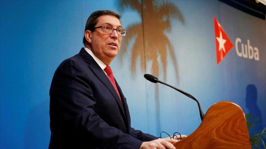 El canciller cubano, Bruno Rodríguez, durante una conferencia de prensa en La Habana, 22 de octubre de 2020.