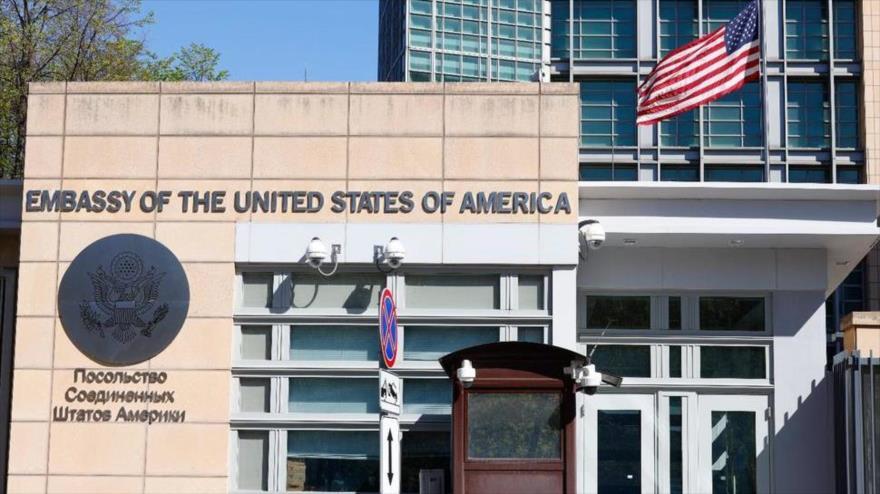 Una de las fachadas de la embajada de EE.UU. en Moscú, la capital de la Federación Rusa.