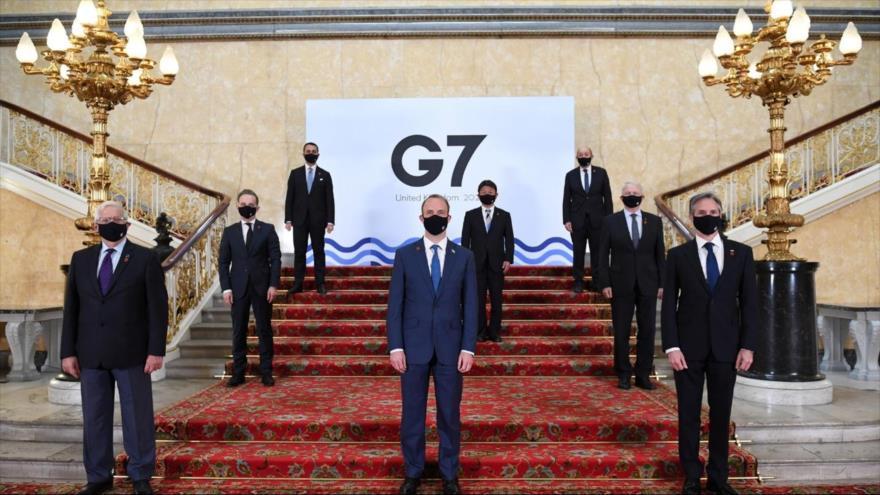 Los ministros de asuntos exteriores del G7 en una reunión en Londres, capital del Reino Unido, 5 de mayo de 2021.