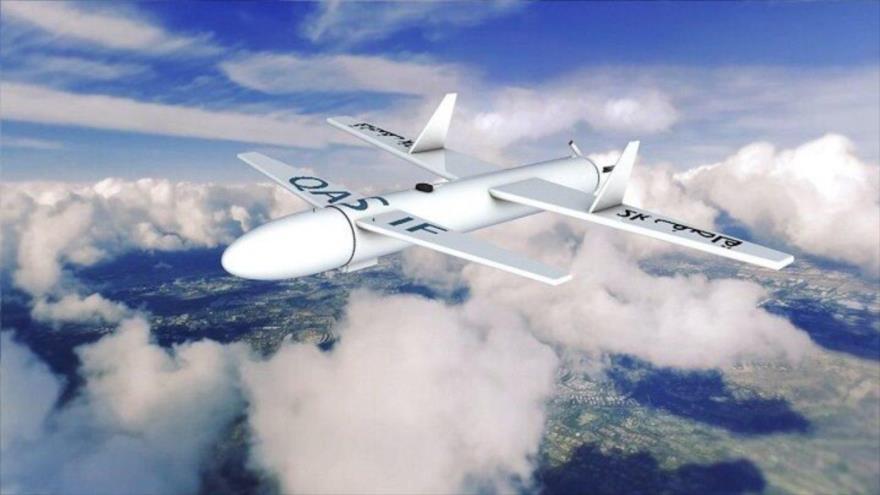 Representación gráfica de un dron yemení de tipo Qasef-2k. (Foto: Al Masirah)