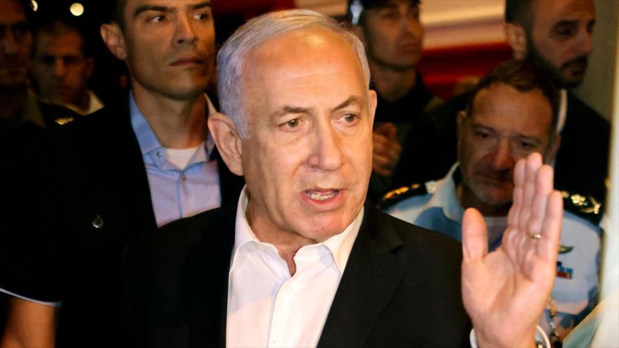 El primer ministro de Israel, Benjamín Netanyahu, ofrece una rueda de prensa en los territorios ocupados de Palestina, 12 de mayo de 2021. (Foto: AFP)