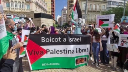 Pese a boicot informativo en España, se manifiesta contra Israel