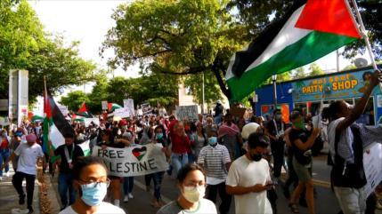 Protestas en EEUU por genocidio contra el pueblo palestino