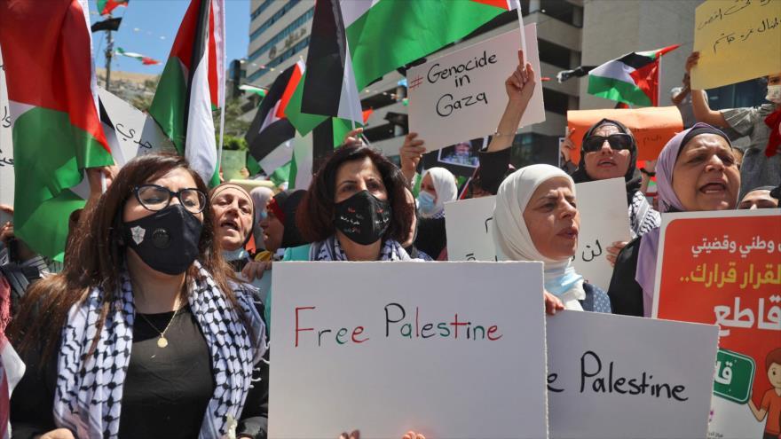 En imágenes: Palestinos se manifiestan contra atrocidades de Israel