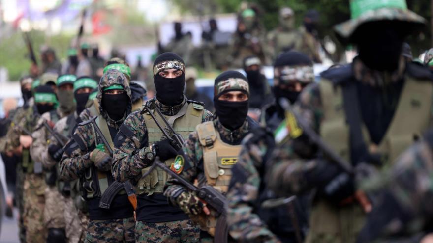 Combatientes de las Brigadas Ezzedin Al-Qassam,brazo militar de HAMAS, en Gaza, 22 de mayo de 2021. (Foto: AFP)