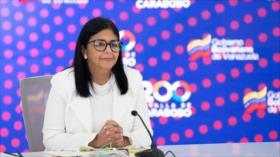 """Delcy Rodríguez: """"bloqueo económico impide adquisición de vacunas"""""""