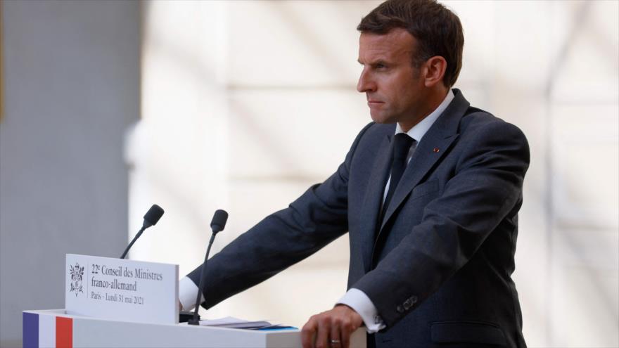 El presidente de Francia, Emmanuel Macron en una rueda de prensa, París, capital francesa, el 31 de mayo de 2021. (Foto: AFP)