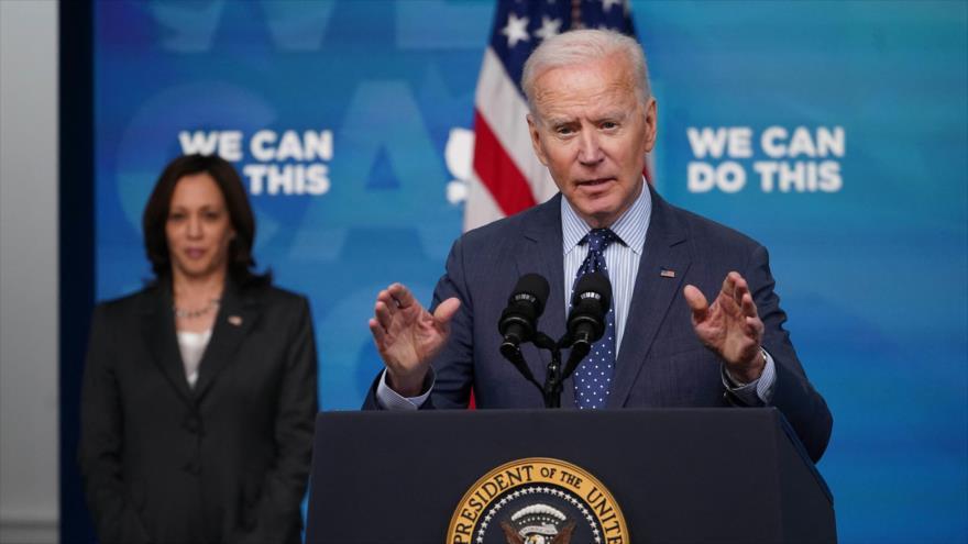El presidente de EE.UU., Joe Biden, habla en el edificio de oficinas ejecutivas de Eisenhower, Washington D.C., capital, 2 de junio de 2021. (Foto: AFP)