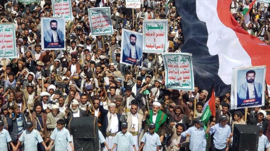 Yemeníes en una manifestación en la ciudad de Saada contra EE.UU. y el régimen de Israel, 4 de junio de 2021.