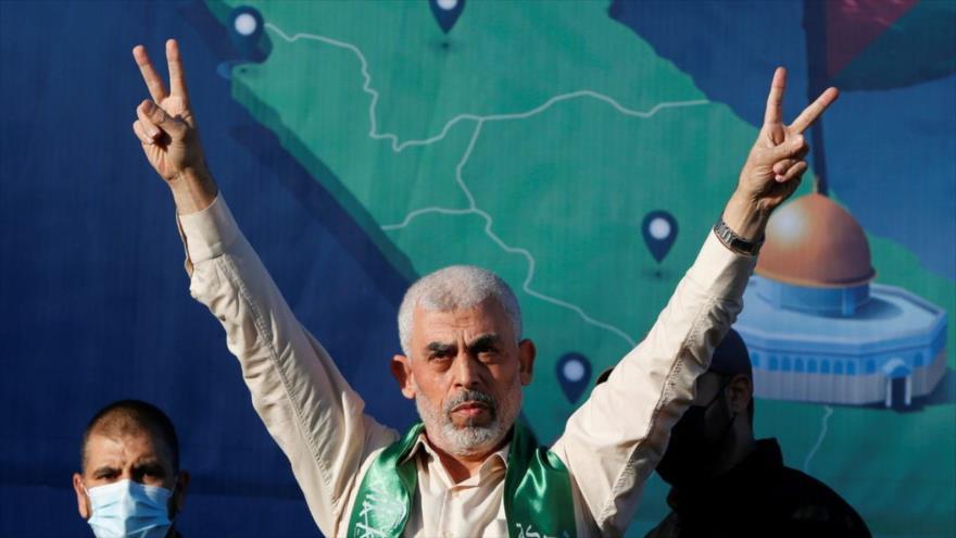 El líder político del Movimiento de Resistencia Islámica de Palestina (HAMAS), Yahya Sinwar, durante un acto en la Franja de Gaza.