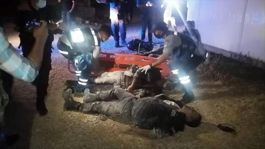 Fuerzas de seguridad jordanas heridas en un ataque armado en las afueras de Amán, la capital, 5 de junio de 2021. (Foto: Petra)