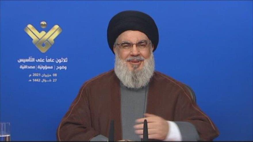 El líder del Movimiento de Resistencia Islámica de El Líbano (Hezbolá), Seyed Hasan Nasralá, ofrece un discurso, 8 de junio de 2021.