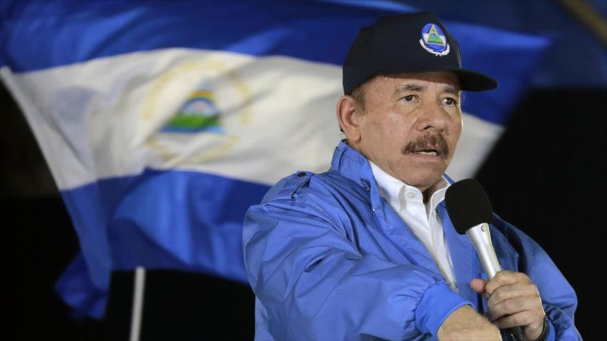 El presidente de Nicaragua, Daniel Ortega, ofrece un discurso en Managua, capital.