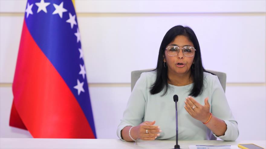 La vicepresidenta de Venezuela, Delcy Rodríguez, durante una conferencia de prensa en Caracas, 7 de abril de 2021. (Foto: Reuters)