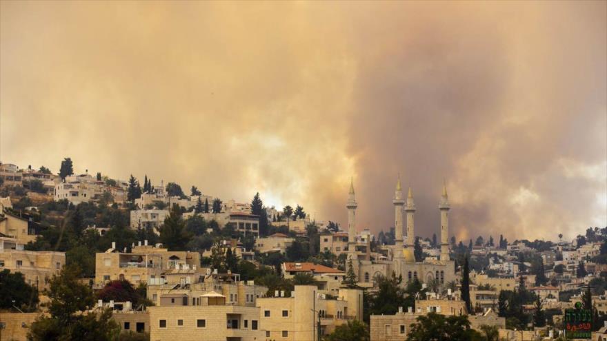 Una columna de humo se eleva tras un incendio forestal detrás de la aldea de Abu Ghosh cerca de Al-Quds, 9 de junio de 2021. (Foto: AP)