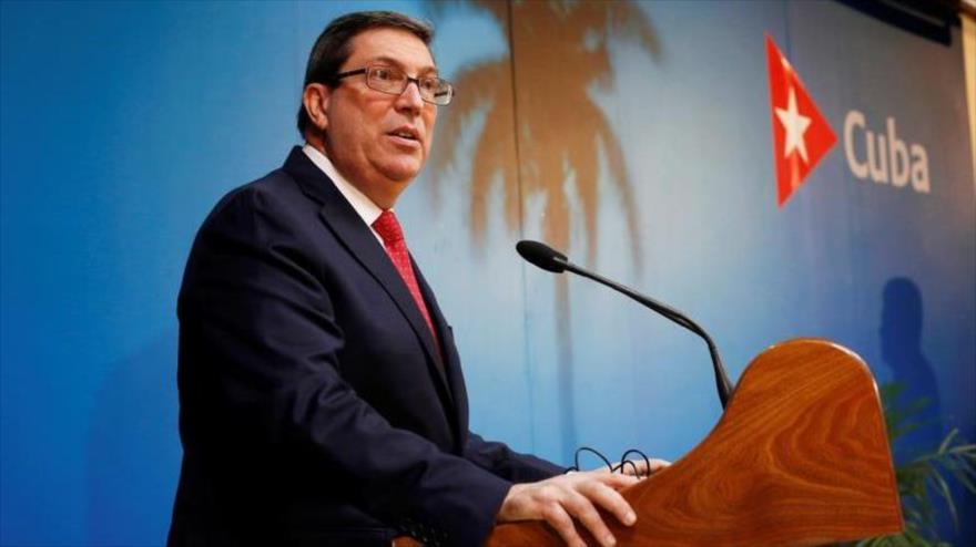 El ministro de Asuntos Exteriores de Cuba, Bruno Rodríguez, en una rueda de prensa en La Habana, 19 de febrero de 2019.