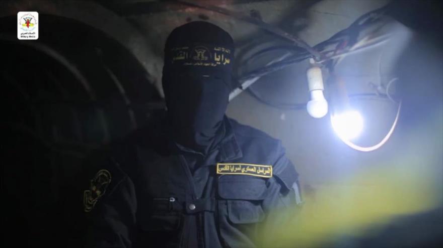 Un combatiente de Brigadas de Al-Quds en túneles de la Resistencia en la Franja de Gaza, 12 de junio de 2021.