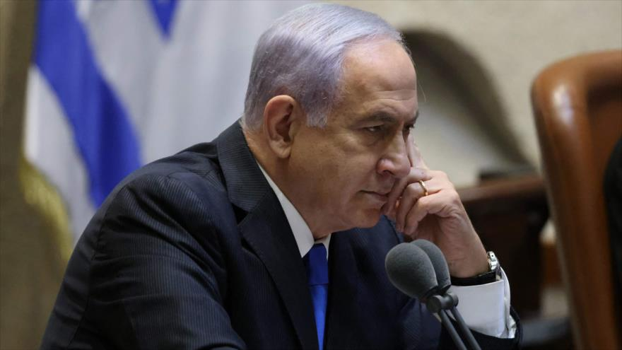 El ex primer ministro israelí, Benjamín Netanyahu, durante una sesión del parlamento en Al-Quds, 13 de junio de 2021. (Foto: AFP)