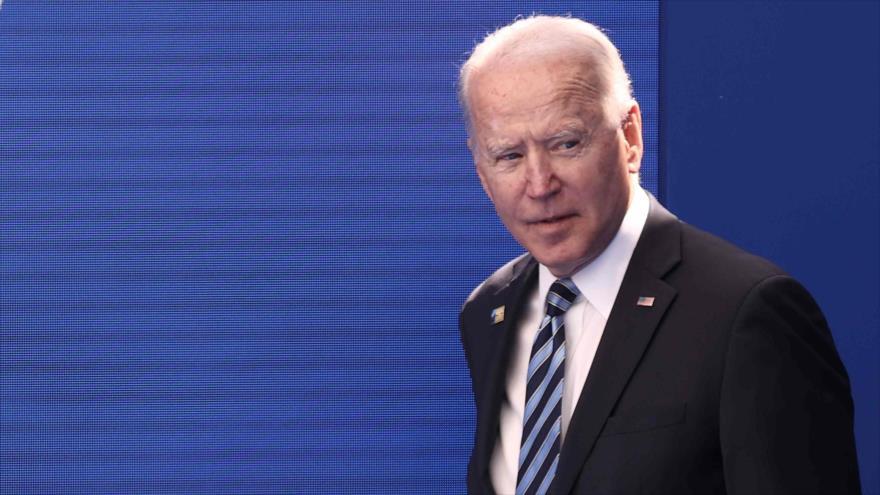 El presidente de Estados Unidos, Joe Biden, en la sede de la OTAN en Bruselas, capital de Bélgica, 14 de junio de 2021. (Foto: AFP)