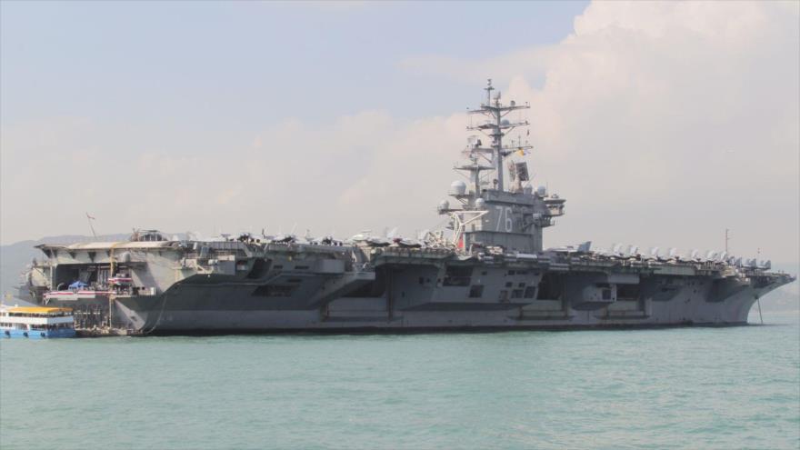 El portaviones USS Ronald Reagan de la Armada de Estados Unidos durante su visita a Hong Kong, China, 21 de noviembre de 2018. (Foto: China)