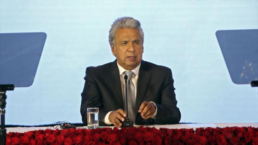 El entonces presidente ecuatoriano Lenín Moreno en un acto en el Palacio de Carondelet, Quito, 8 de diciembre de 2020. (Foto: AFP)