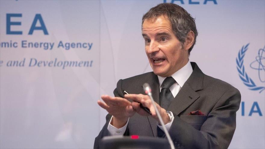 El director general de la AIEA, Rafael Grossi, en la sala de prensa del ente en Viena, la capital austriaca, 24 de mayo de 2021. (Foto: AFP)