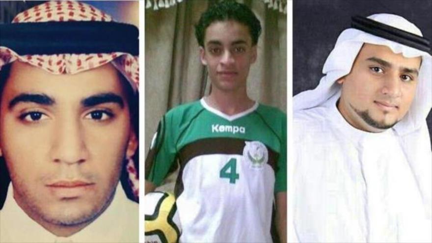 (De dcha. a izq.) los menores saudíes Munir al-Adam, Mujtaba al-Sweikat, Abdulkarim Mohammed al-Hawaj, ejecutados por las autoridades saudíes.