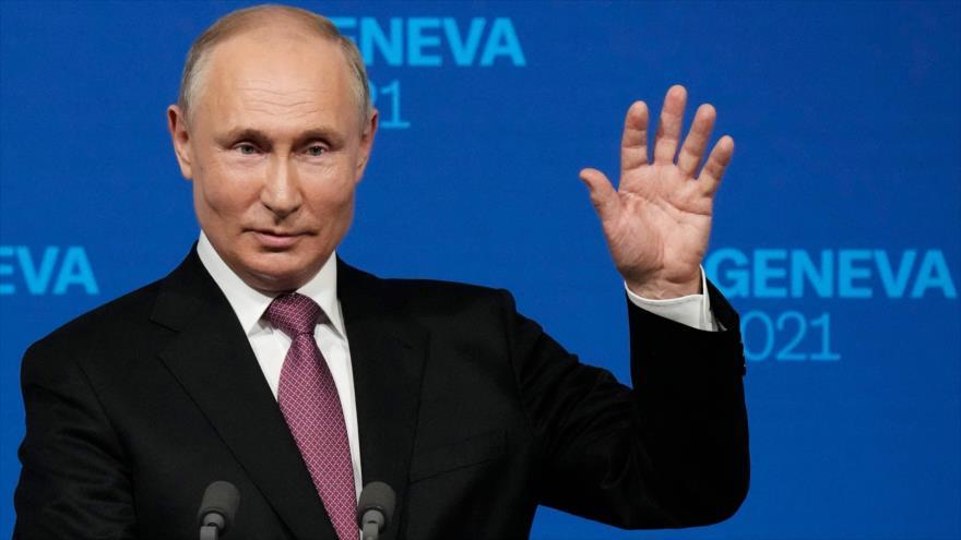 El presidente de Rusia, Vladimir Putin, en una conferencia de prensa en Ginebra, Suiza, 16 de junio de 2021. (Foto: AFP)