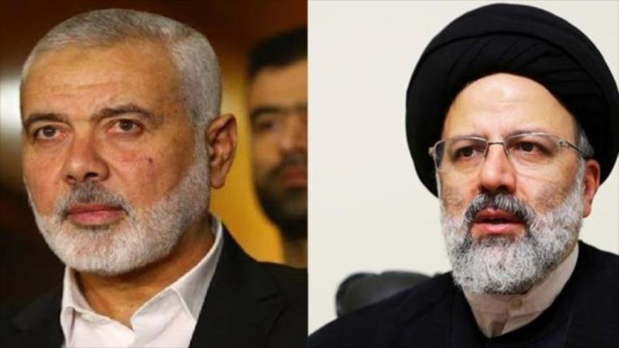 El jefe de la dirección política de HAMAS, Ismail Haniya (izq.), y el presidente electo de Irán, Seyed Ebrahim Raisi.