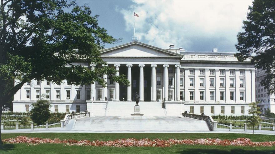 La fachada de la sede del Departamento del Tesoro de Estados Unidos en Washington, capital estadounidense.
