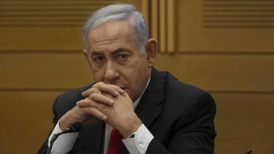 El ex primer ministro israelí Benjamín Netanyahu se dirige a miembros de partidos de la derecha, 14 de junio de 2021. (Foto: AP)