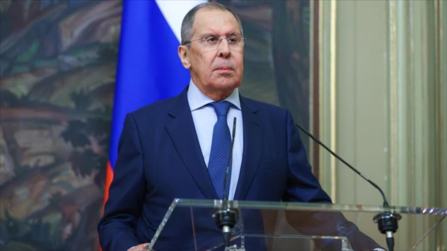 El canciller ruso, Serguéi Lavrov, en una conferencia de prensa en Moscú, 21 de junio de 2021. (Foto: mid.ru)