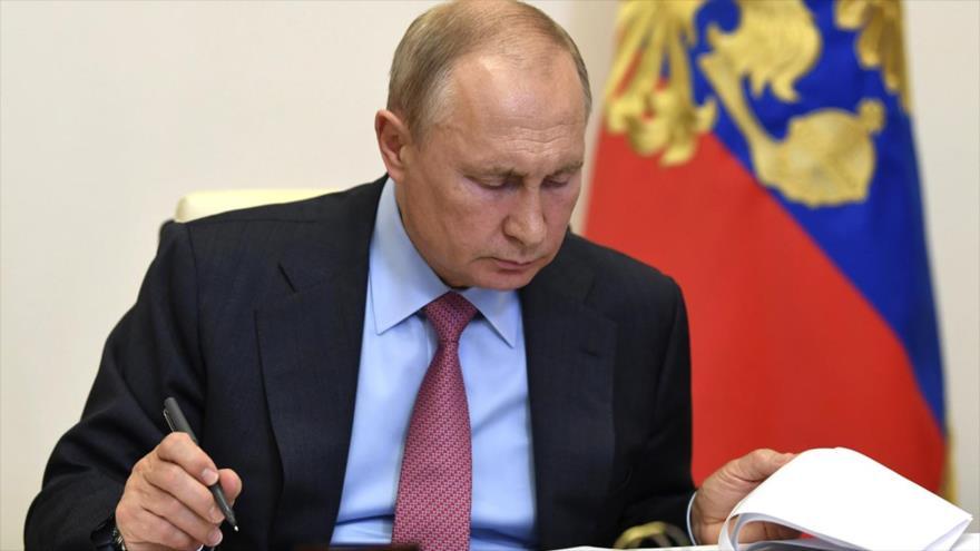 Presidente de Rusia, Vladimir Putin, participa en una videoconferencia en Moscú, Rusia, el 29 de mayo de 2020. (Foto: Reuters)