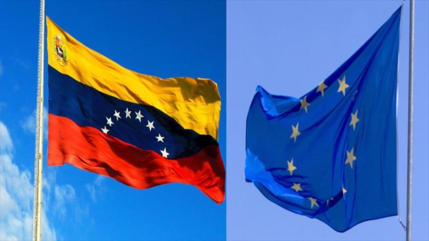 Banderas de Venezuela y la Unión Europea.