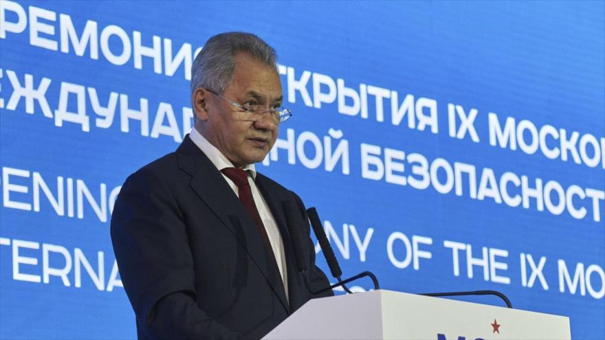 El ministro ruso de Defensa, Serguéi Shoigu, habla en la IX Conferencia de Seguridad Internacional de Moscú, capital rusa, 23 de junio de 2021.