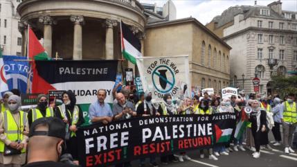 Londinenses piden a viva voz sancionar a Israel por sus crímenes