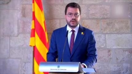 Aragonès recibie a políticos indultados en una recepción oficial