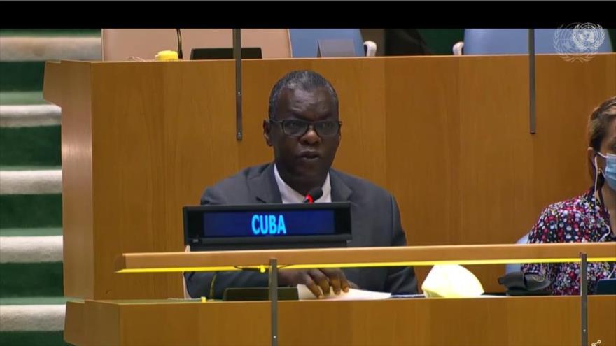 El enviado permanente de Cuba ante la ONU, Pedro Luis Pedroso, en 2.ª Conferencia de Jefes de Organismos de Lucha Antiterrorista, 29 de junio de 2021.