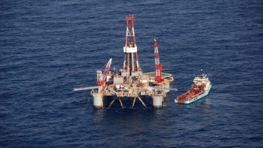 Una plataforma petrolífera a unos 100 kilómetros de las islas Malvinas.