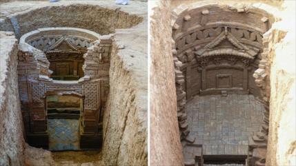 Hallan en China tumbas con murales de 700 años de antigüedad